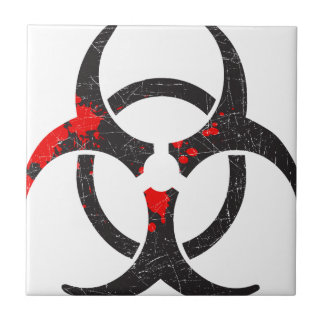 Bloody Biohazard Symbol Small Square Tile