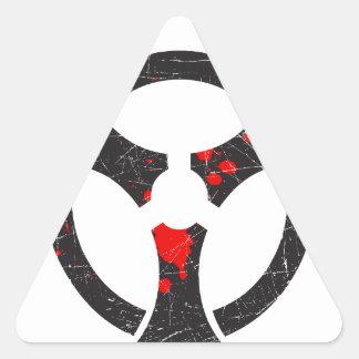 Bloody Biohazard Symbol Triangle Sticker