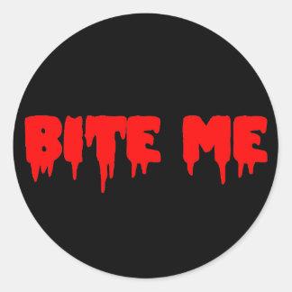 "Bloody ""Bite Me"" Classic Round Sticker"