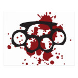 bloody brass knuckles post card