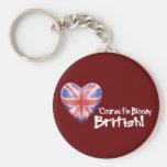 Bloody British Basic Round Button Keychain