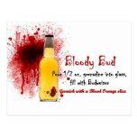 Bloody Bud Drink Recipe Post Card