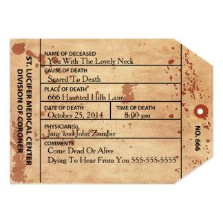 Bloody Coroner Toe Tag Halloween / Birthday Invite