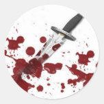 Bloody Dagger Round Sticker