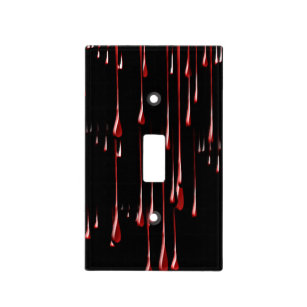 Bloody Drips on Black Background Light Switch Cover