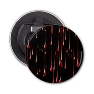 Bloody Drips on Black Background Button Bottle Opener