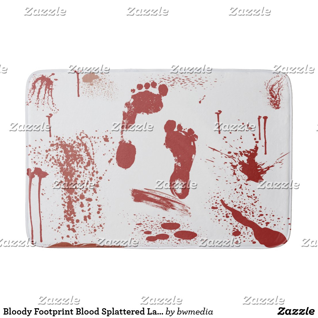 Bloody Footprint with Blood Spatter Bath Mat