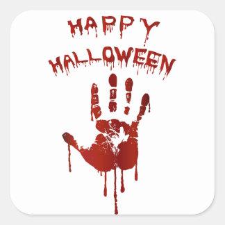 Bloody halloween hand square sticker