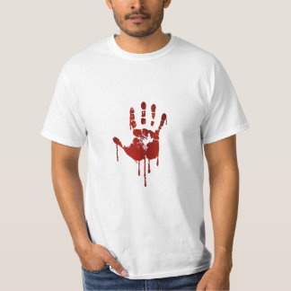Bloody halloween hand | text on back man's shirt