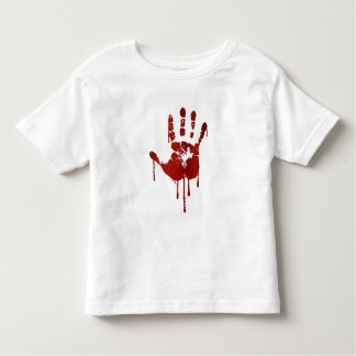 Bloody halloween hand | text on back toddler shirt