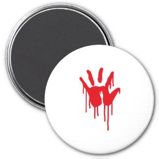 bloody hand 3 inch round magnet