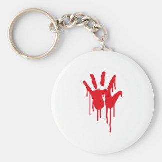 bloody hand basic round button keychain