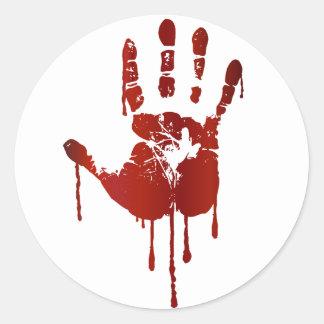 Bloody hand classic round sticker