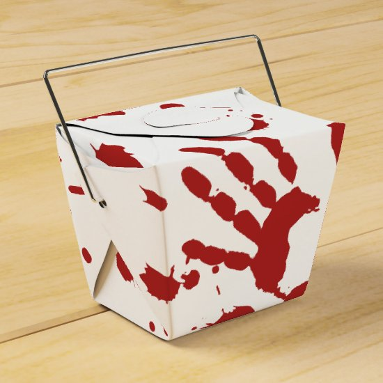 Bloody Hand Print Blood Spatter Halloween Props Favor Box
