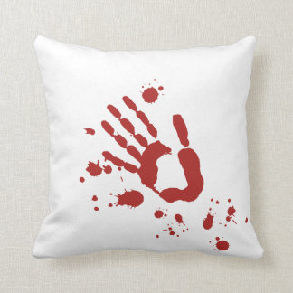 Bloody Hand Print Blood Spatter Halloween Props Pillow