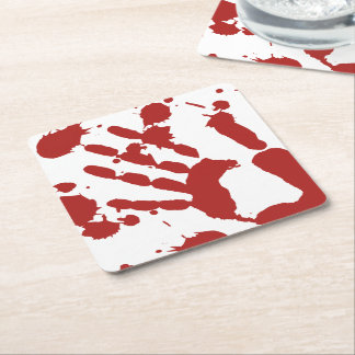 Bloody Hand Print Blood Spatter Halloween Square Paper Coaster