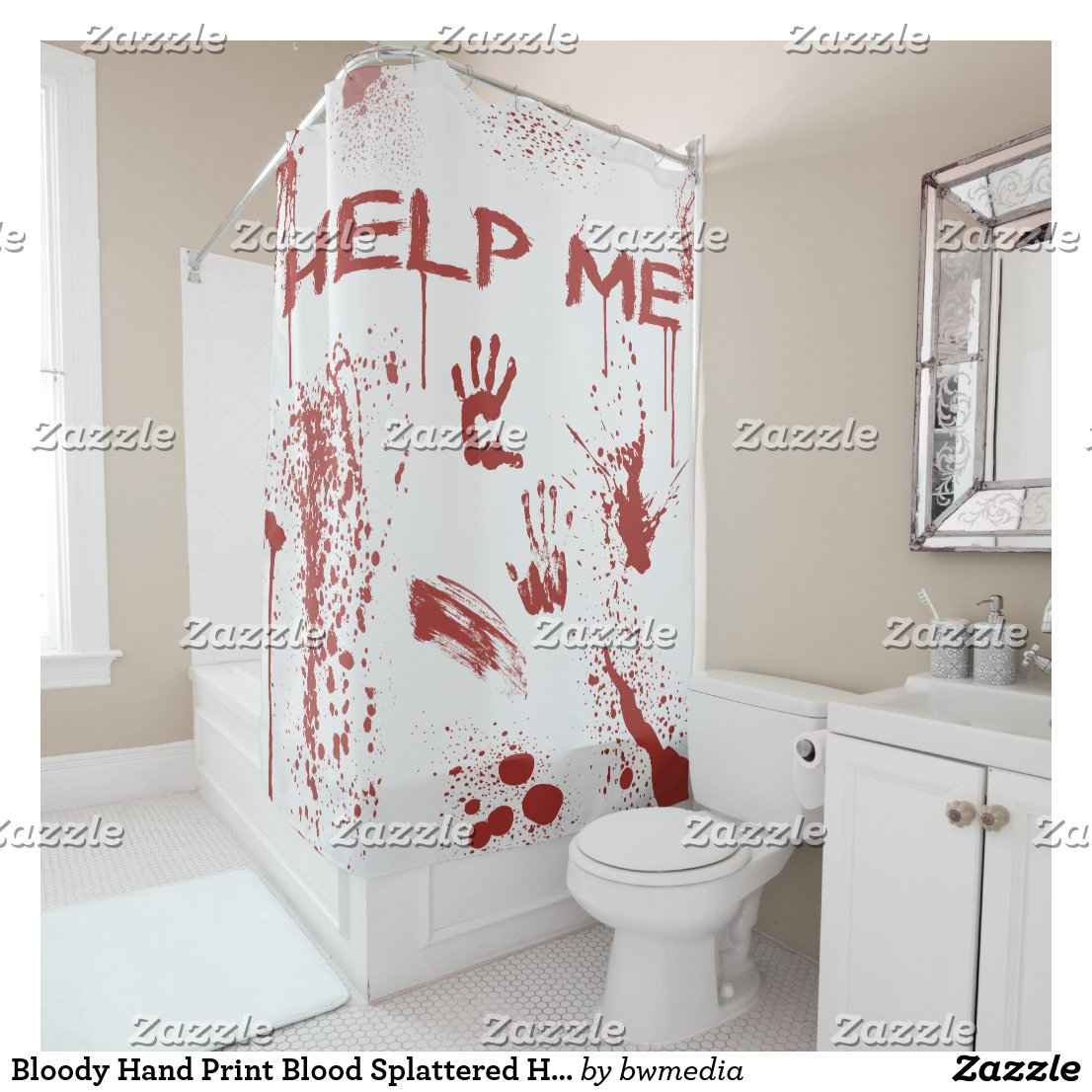 Bloody Hand Print Blood Splattered Shower Curtain