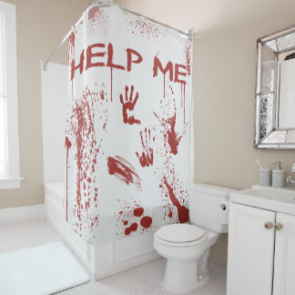 Bloody Hand Print Blood Splattered Halloween Shower Curtain