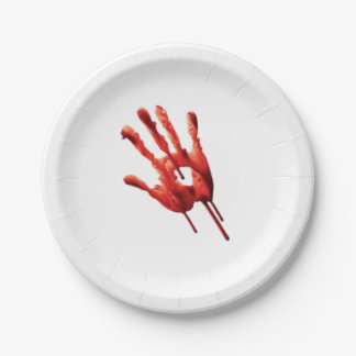 Bloody Hand Print Paper Plate