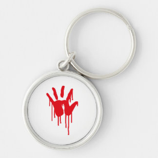 bloody hand Silver-Colored round keychain