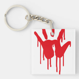 bloody hand Single-Sided square acrylic keychain