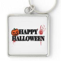 Bloody Handprint Happy Halloween square Keychain