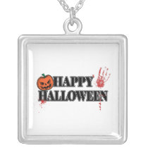 Bloody Handprint Happy Halloween square Silver Plated Necklace