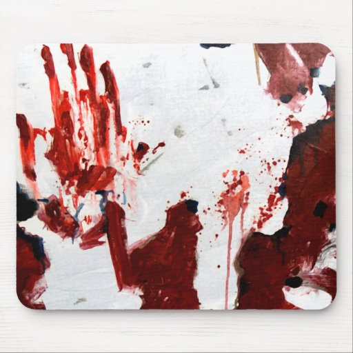 Bloody pad bloody handprint mouse pad