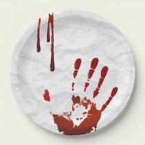 Bloody handprint paper plate