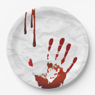 Bloody handprint paper plate