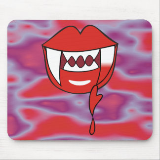 Bloody Heart Vampire Lips in Red Mouse Pad