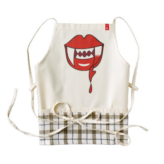 Bloody Heart Vampire Lips in Red Zazzle HEART Apron