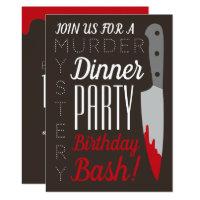 Bloody Knife, Murder Mystery Birthday Party Invitation