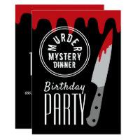 Bloody Knife, Murder Mystery Stamp Birthday Party Invitation