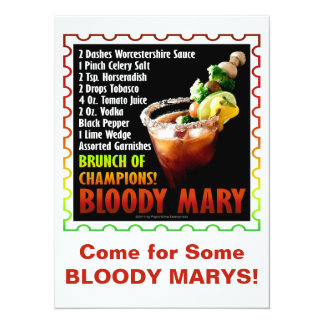 BLOODY MARY, Brunch of Champions 5.5x7.5 Paper Invitation Card