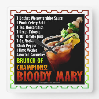 BLOODY MARY, Brunch of Champions Square Wall Clock