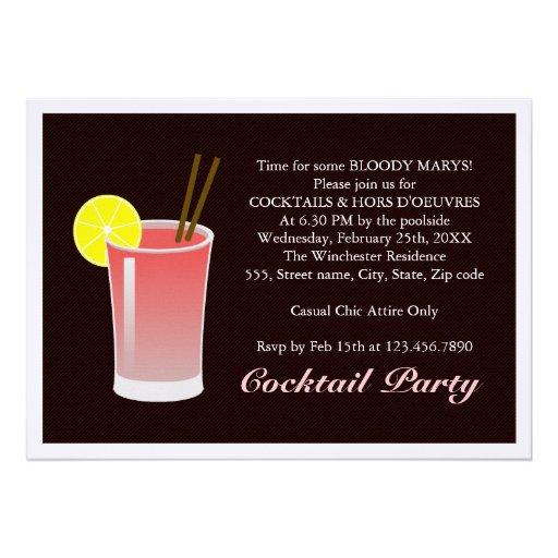 Bloody Mary Cocktail Custom Invitations