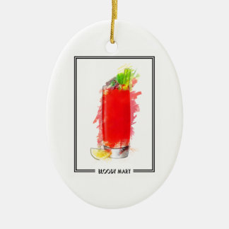 Bloody Mary Cocktail Marker Sketch Ceramic Ornament