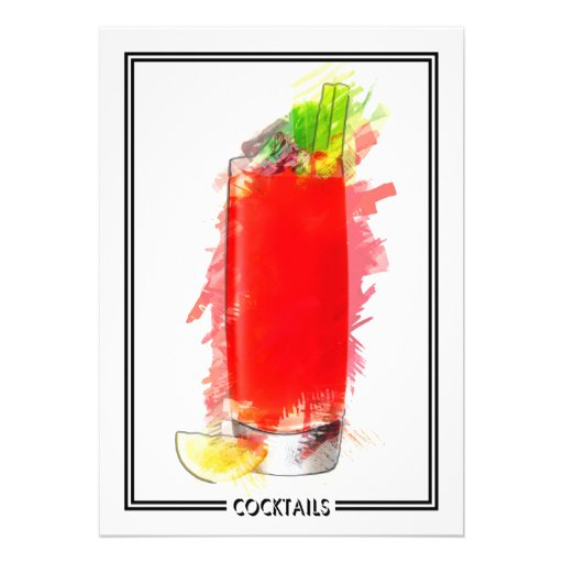 Bloody Mary Cocktail Marker Sketch Invites