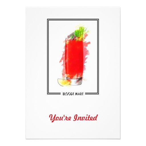 Bloody Mary Cocktail Marker Sketch Custom Invitation