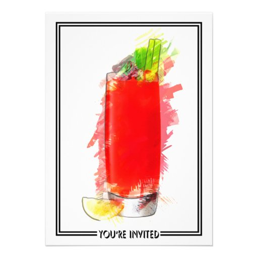 Bloody Mary Cocktail Marker Sketch You're Invited Invites