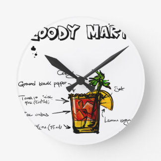 Bloody Mary Cocktail Recipe Round Clock