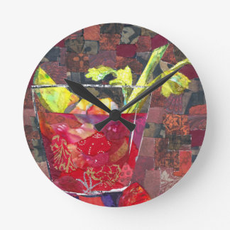 Bloody Mary collage Round Clock