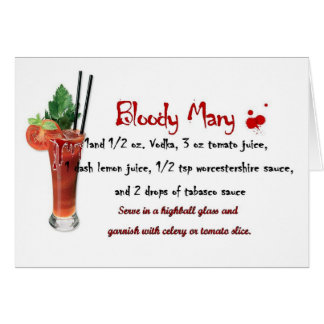 Bloody Mary Drink Recipe Greeting Card