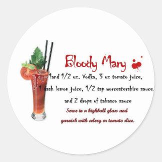 Bloody Mary Drink Recipe Classic Round Sticker