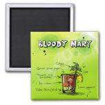 Bloody Mary Recipe - Cocktail Gift 2 Inch Square Magnet