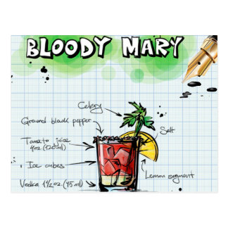Bloody Mary Recipe - Cocktail Gift Postcard