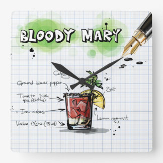 Bloody Mary Square Wall Clock