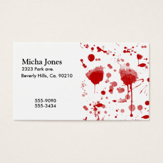 Bloody Mess Drips Splatters Custom Color BG Business Card
