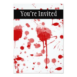 Bloody Mess Drips Splatters Custom Color BG 5x7 Paper Invitation Card